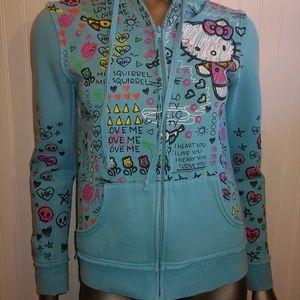 Hello Kitty Blue Zip Up Hoodie - M